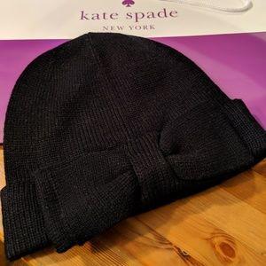 e1da5825702c1 NWT KATE SPADE BEANIE BOW HAT-BLACK